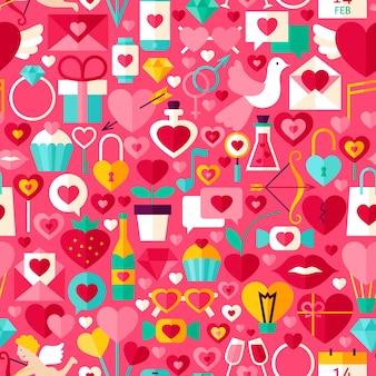 Valentijnsdag roze naadloze patroon. platte ontwerp vector tegel achtergrond. liefde vakantie.