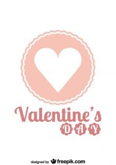 Valentijnsdag roze retro badge
