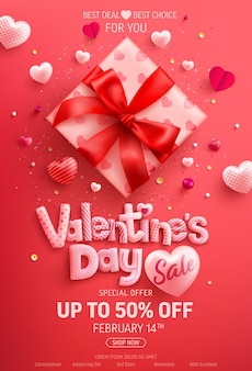 Valentijnsdag sale 50% korting op banner met schattige geschenkdoos en zoete hartjes op rood