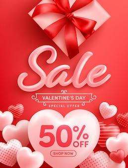 Valentijnsdag sale 50% korting poster of spandoek met veel zoete hartjes en geschenkdoos op rood