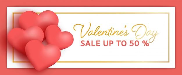 Valentijnsdag salebanner met harten