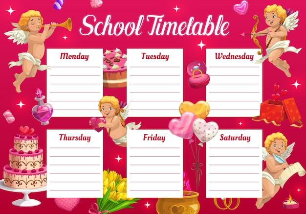 Valentijnsdag schoolrooster voor kinderen met cupido en geschenken