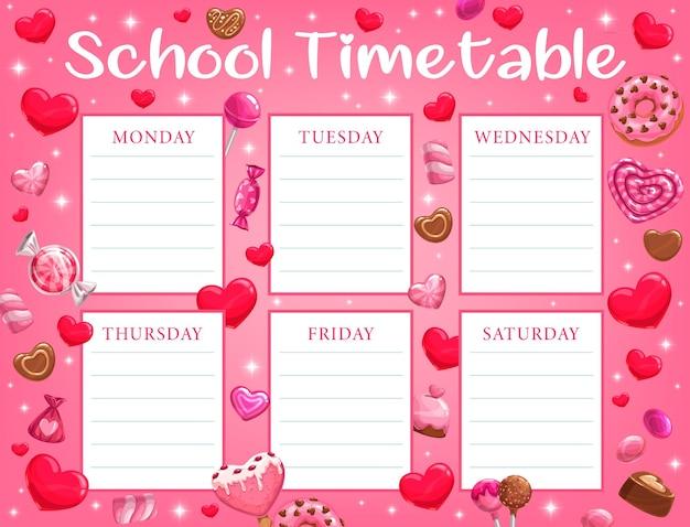 Valentijnsdag schooltijdschema voor kinderen met vakantiesnoepjes