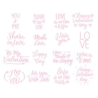 Valentijnsdag set belettering inscripties. liefdes kaart.
