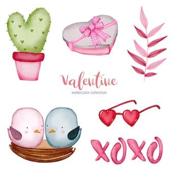 Valentijnsdag set elementen cactus, vogels, boeken, glazen en meer. sjabloon voor stickerkit, groet, gefeliciteerd, uitnodigingen, planners. vector illustratie
