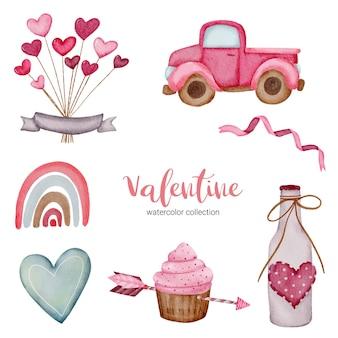 Valentijnsdag set elementen cup cake, auto, hart en meer.