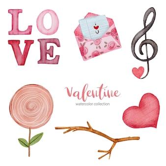 Valentijnsdag set elementen envelop, snoep, cadeau en meer.