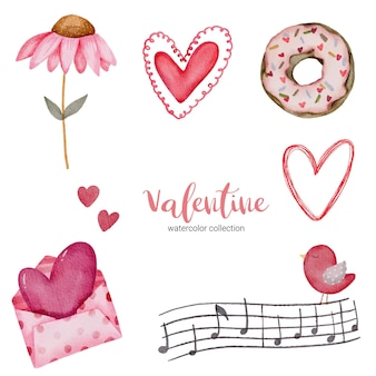 Valentijnsdag set elementen envelop, zonnebloem, donut, cadeau en meer.