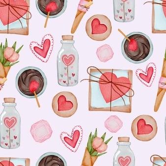 Valentijnsdag set elementen geschenken, chocolade, bloemen en meer.