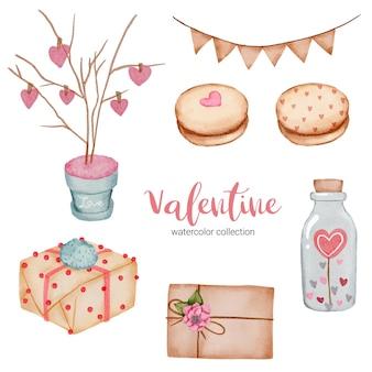 Valentijnsdag set elementen, hart, cadeau, cake en etc.