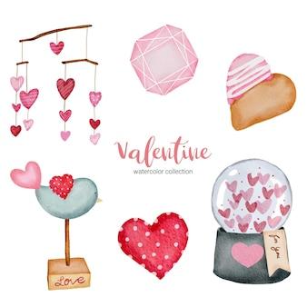Valentijnsdag set elementen hart, pot en meer.