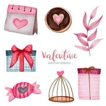 Valentijnsdag set elementen kalender, geschenken, bladeren en meer.