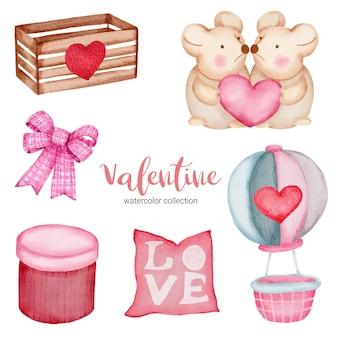 Valentijnsdag set elementen kussen, luchtballon, muis en meer.