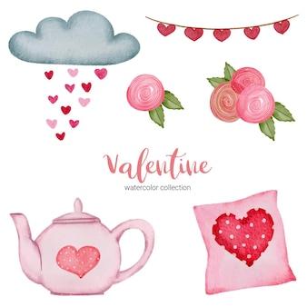 Valentijnsdag set elementen kussen, wolk, roos en meer.