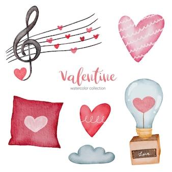 Valentijnsdag set elementen muziek, kussen, licht en meer.