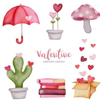 Valentijnsdag set elementen paraplu, paddestoel, hart, cactus en meer.