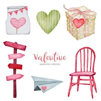Valentijnsdag set elementen stoel, papieren vliegtuigje, cadeau en meer.