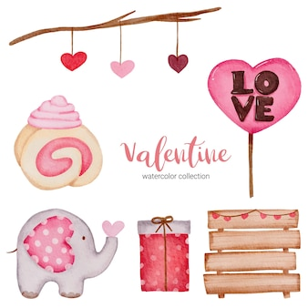 Valentijnsdag set elementen takken, bord, olifant en meer.