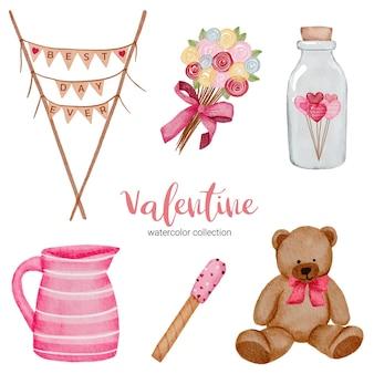 Valentijnsdag set elementen, teddy; pot, fles en meer.