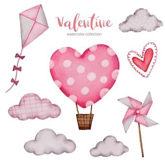 Valentijnsdag set elementen vlieger, wolk, luchtballon en meer.