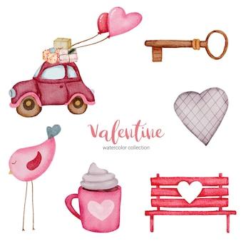 Valentijnsdag set elementen vogel, auto, bank, sleutel en meer.