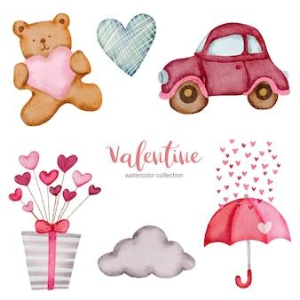Valentijnsdag set elementen wolk, teddy, hart, geschenkdoos en meer.