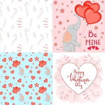 Valentijnsdag set met ansichtkaart, patroon en sjabloon. cartoon-stijl. vector illustratie.