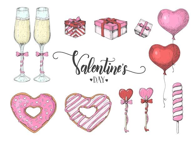 Valentijnsdag set met kleurrijke hand getrokken objecten in schetsstijl-lolly, geglazuurde donut, glas champagne, geschenkdozen, ballons. happy valentines day-belettering