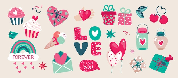 Valentijnsdag set met letters en leuke elementen: geschenken, ballonnen, liefdesbrief, hart in een pot.
