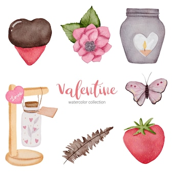 Valentijnsdag set met liefde elementen, hart, bloemen, kalligrafie, pot, vlinder en etc.
