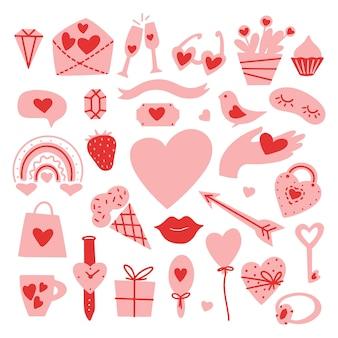 Valentijnsdag set met schattig liefdeshart, bloem, edelsteen, ring, tas, hand, sleutel, regenboog, vogel. platte vectorillustratie sjabloon voor ontwerp stickers, wenskaarten, gefeliciteerd, uitnodigingen, bruiloft.