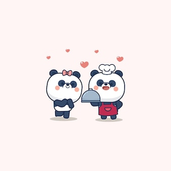 Valentijnsdag set met schattige panda met zacht hart, met hou van je wenskaart