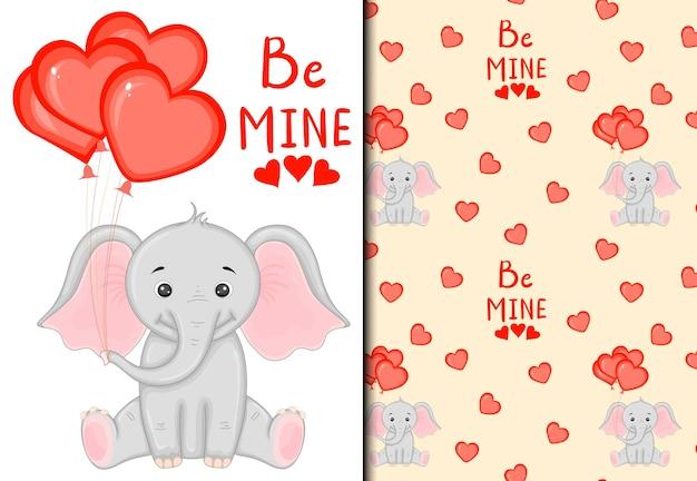 Valentijnsdag set patroon en ansichtkaart met een schattige olifant. cartoon-stijl. vector illustratie.