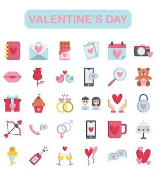 Valentijnsdag set, vlakke stijl premium