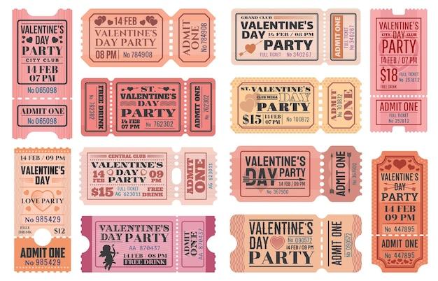 Valentijnsdag-sjablonen voor feesttickets met liefdesvakantie cupido