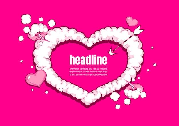 Valentijnsdag sjabloon achtergrond, komische kunststijl.