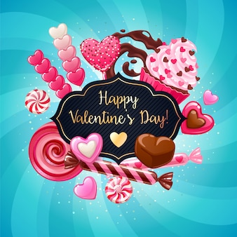 Valentijnsdag snoepjes en snoep kleurrijke achtergrond.