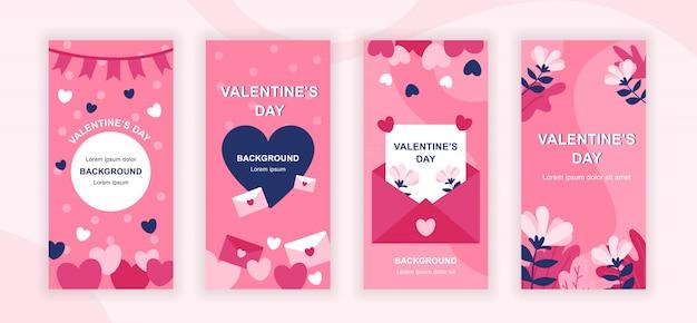 Valentijnsdag sociale media verhalen sjablonen set