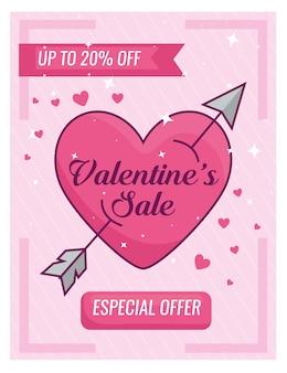 Valentijnsdag speciale aanbieding banner met en hart met pijl