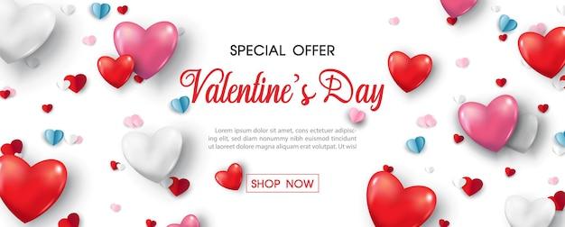 Valentijnsdag speciale aanbiedingen banner en harten.