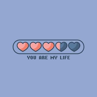 Valentijnsdag statusbalk met platte harten