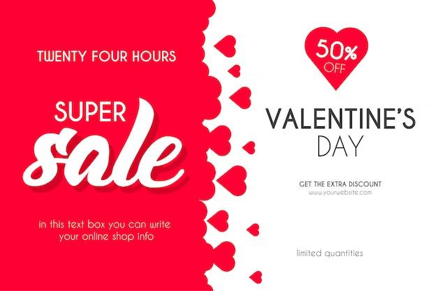 Valentijnsdag super verkoop met harten achtergrond