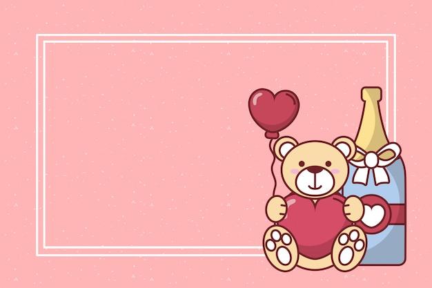 Valentijnsdag teddybeer met hart ballon