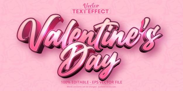 Valentijnsdag tekst, kalligrafische stijl bewerkbaar teksteffect op roze kleur gestructureerde achtergrond