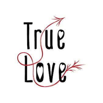 Valentijnsdag true love-tekst met pijl