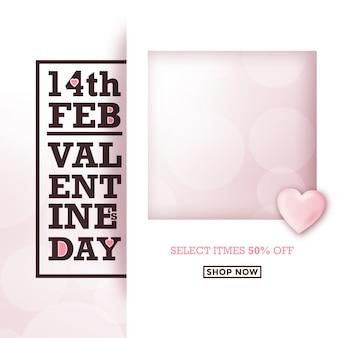 Valentijnsdag typografische verkoop ontwerp met fotolijst