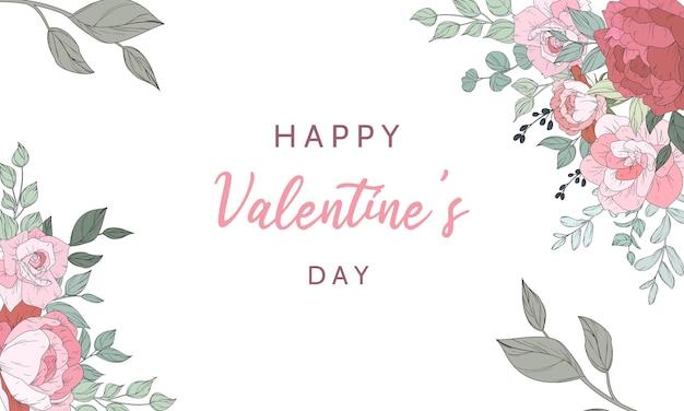 Valentijnsdag uitnodigingskaart met prachtige bloemen