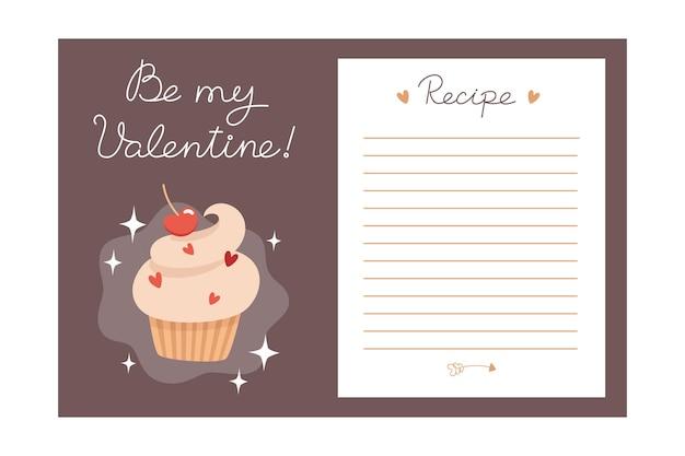 Valentijnsdag vakantie bakken recept sjabloon met ingrediënten en instructies
