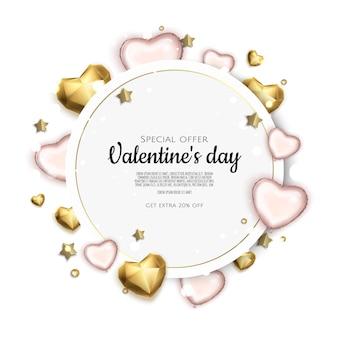 Valentijnsdag vakantie geschenkenkaart met hart