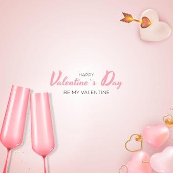 Valentijnsdag vakantie gift card realistische achtergrondontwerp